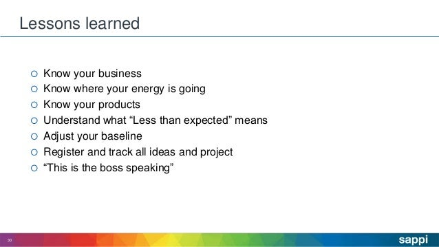 """ Know your business  Know where your energy is going  Know your products  Understand what """"Less than expected"""" means ..."""