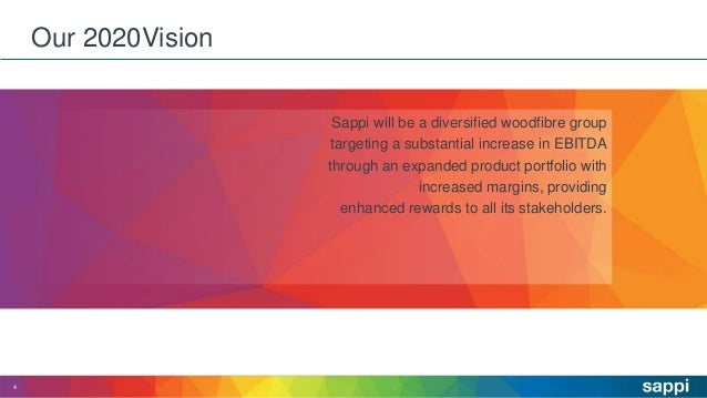 Our 2020Vision 4 Sappi will be a diversified woodfibre group targeting a substantial increase in EBITDA through an expande...