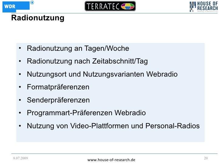 Radionutzung      • Radionutzung an Tagen/Woche    • Radionutzung nach Zeitabschnitt/Tag    • Nutzungsort und Nutzungsvari...
