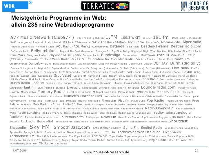 Meistgehörte Programme im Web:  allein 235 reine Webradioprogramme  .977 Music Network (Club977 )                        0...