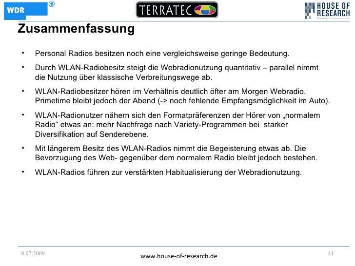 Zusammenfassung •    Personal Radios besitzen noch eine vergleichsweise geringe Bedeutung. •    Durch WLAN-Radiobesitz ste...