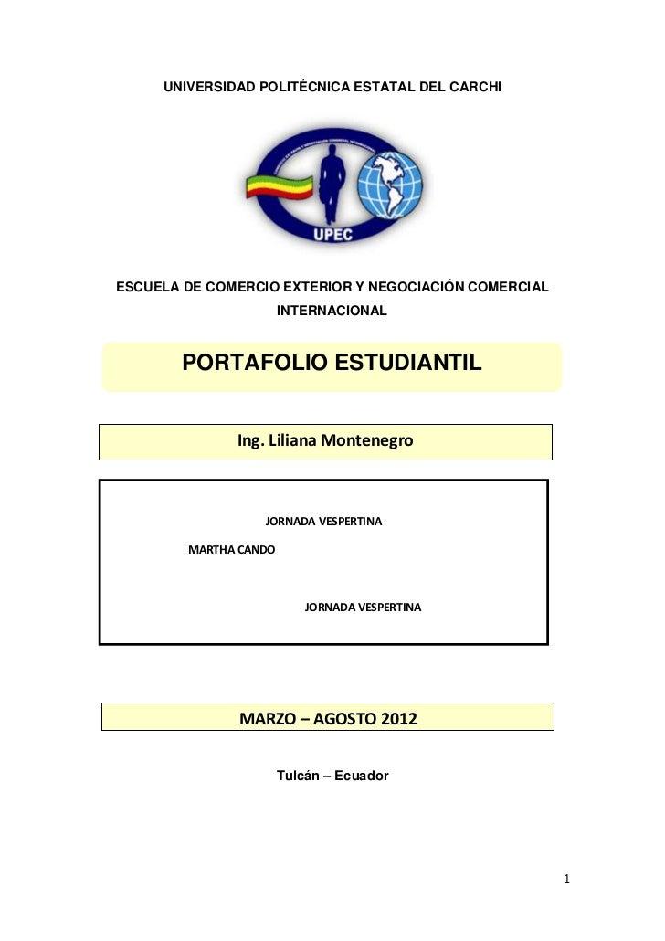 UNIVERSIDAD POLITÉCNICA ESTATAL DEL CARCHIESCUELA DE COMERCIO EXTERIOR Y NEGOCIACIÓN COMERCIAL                       INTER...