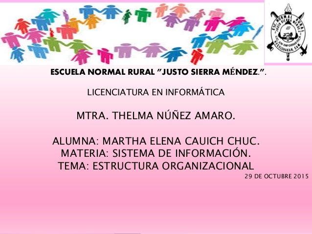 """ESCUELA NORMAL RURAL """"JUSTO SIERRA MÉNDEZ."""". LICENCIATURA EN INFORMÁTICA MTRA. THELMA NÚÑEZ AMARO. ALUMNA: MARTHA ELENA CA..."""