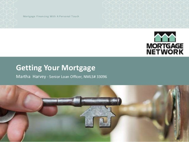 Mortgage Financing With A Personal Touch Getting Your Mortgage Martha Harvey - Senior Loan Officer, NMLS# 33096