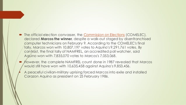  The official election canvasser, the Commission on Elections (COMELEC), declared Marcos the winner, despite a walk-out s...