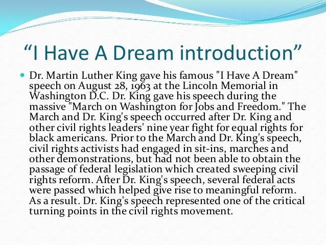 martin luther king jr ldquoi have a dream introductionrdquoiuml130151 dr martin luther king