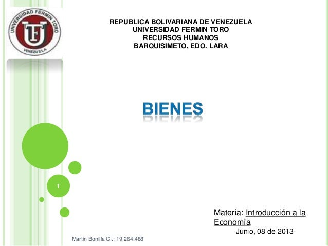 REPUBLICA BOLIVARIANA DE VENEZUELAUNIVERSIDAD FERMIN TORORECURSOS HUMANOSBARQUISIMETO, EDO. LARAMateria: Introducción a la...