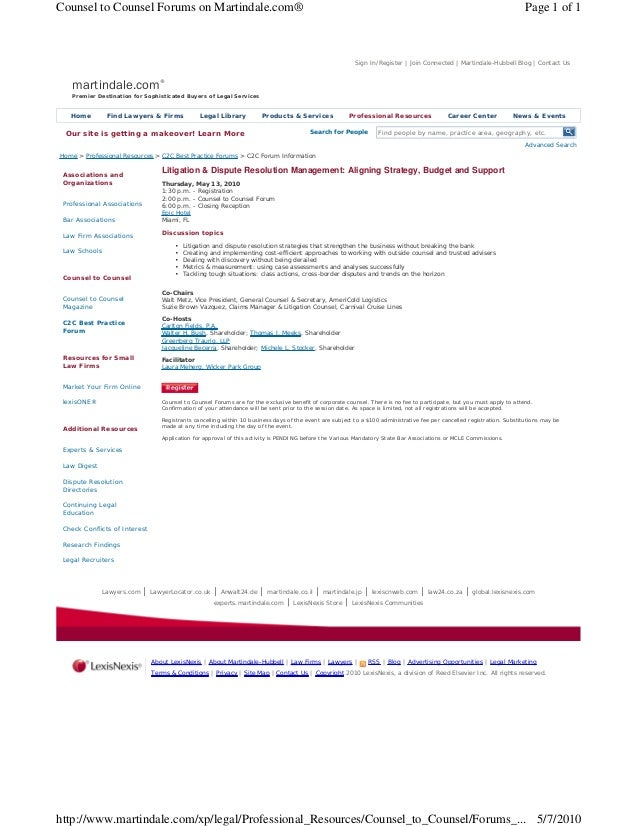 Counsel to Counsel Forums on Martindale.com®                                                                              ...
