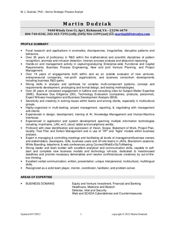M. J. Dudziak, PhD – Senior Strategic Process Analyst                                    Martin Dudziak                  9...