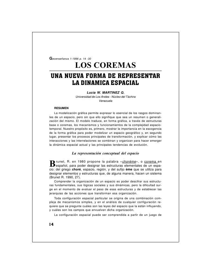 Geoenseñanza 1-1996 p. 14 -30                  LOS COREMASUNA NUEVA FORMA DE REPRESENTAR      LA DINAMICA ESPACIAL        ...