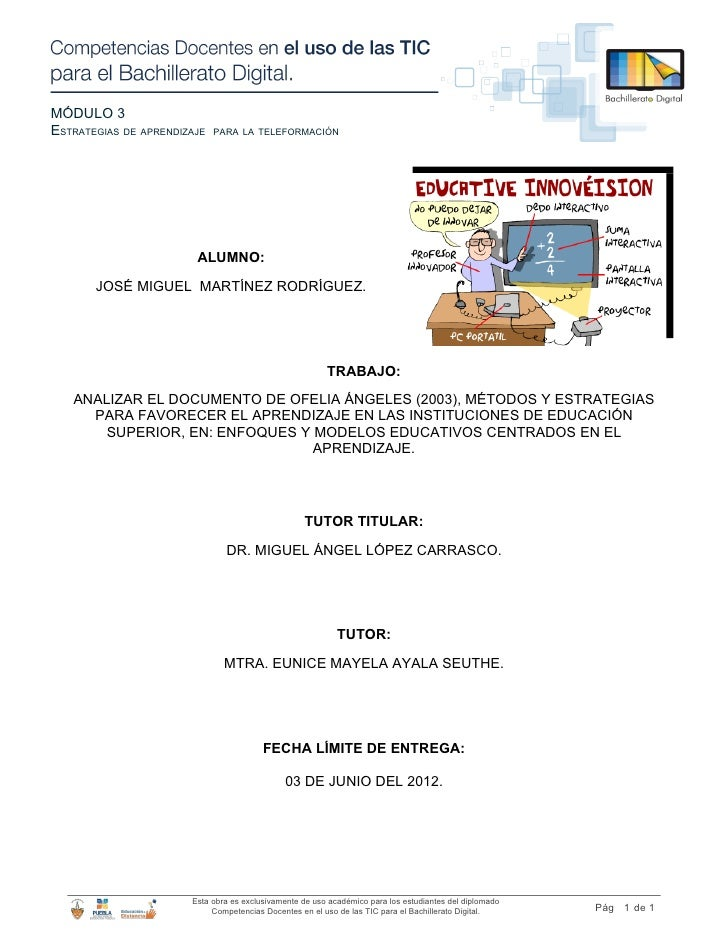MÓDULO 3ESTRATEGIAS DE APRENDIZAJE   PARA LA TELEFORMACIÓN                        ALUMNO:       JOSÉ MIGUEL MARTÍNEZ RODRÍ...