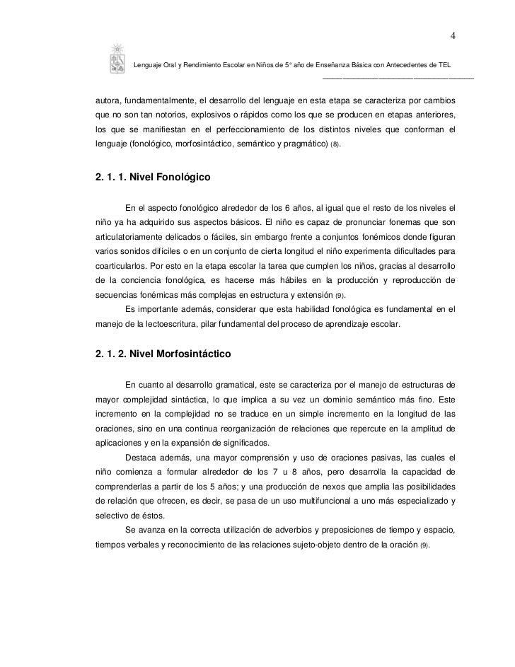 4          Lenguaje Oral y Rendimiento Escolar en Niños de 5° año de Enseñanza Básica con Antecedentes de TEL             ...