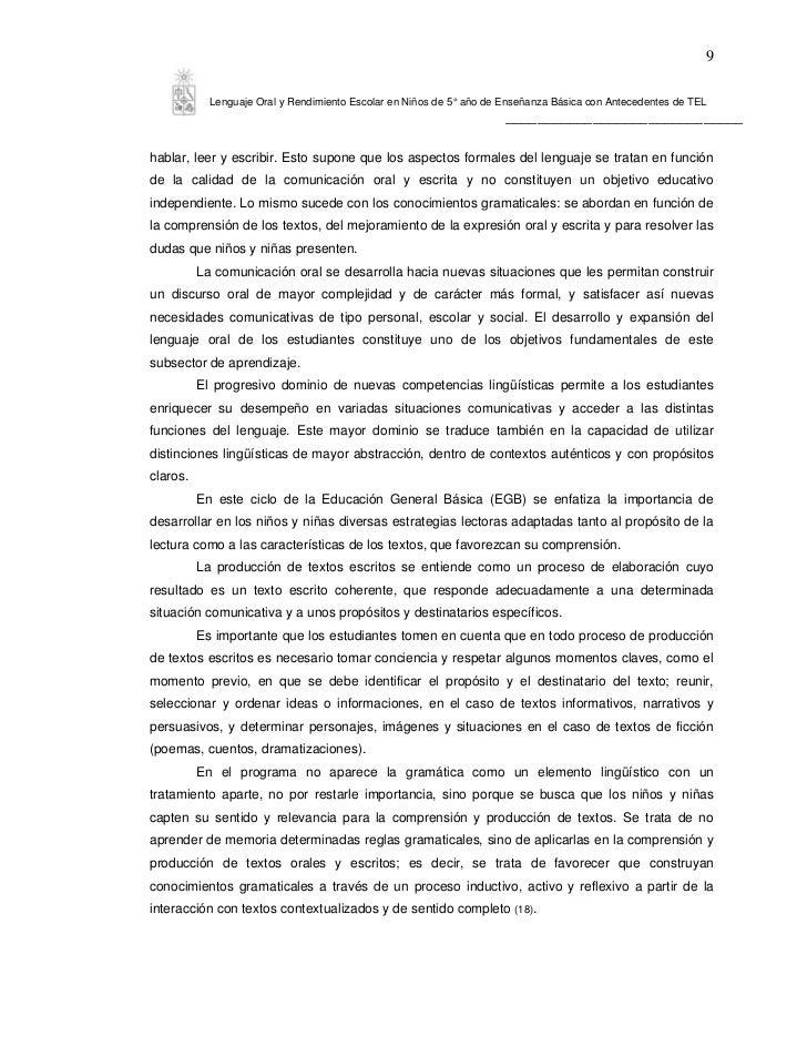 9            Lenguaje Oral y Rendimiento Escolar en Niños de 5° año de Enseñanza Básica con Antecedentes de TEL           ...
