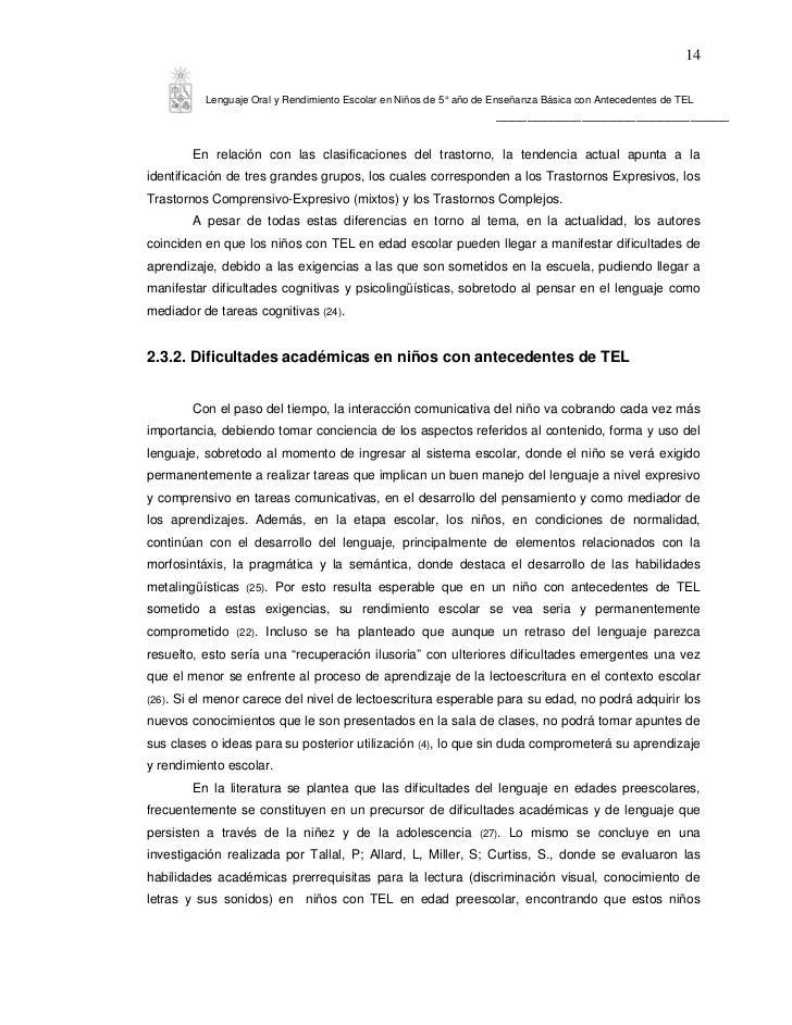 14             Lenguaje Oral y Rendimiento Escolar en Niños de 5° año de Enseñanza Básica con Antecedentes de TEL         ...