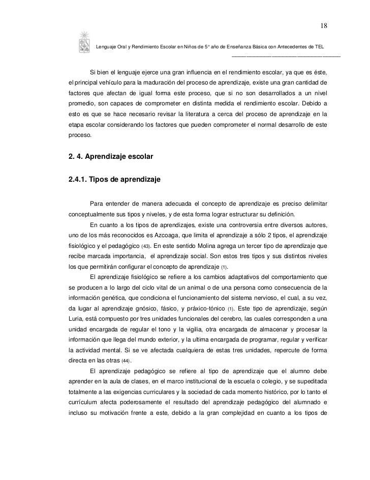18           Lenguaje Oral y Rendimiento Escolar en Niños de 5° año de Enseñanza Básica con Antecedentes de TEL           ...
