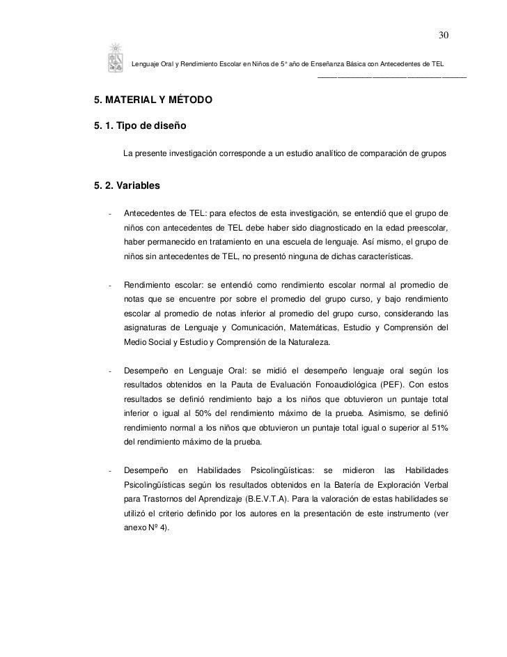 30         Lenguaje Oral y Rendimiento Escolar en Niños de 5° año de Enseñanza Básica con Antecedentes de TEL             ...