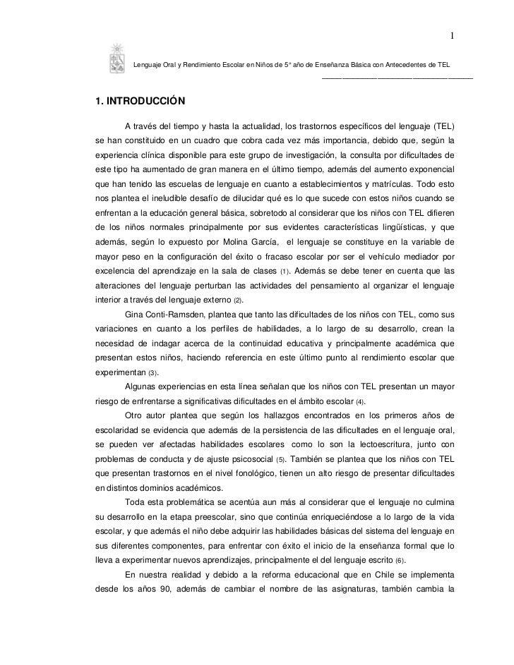 1           Lenguaje Oral y Rendimiento Escolar en Niños de 5° año de Enseñanza Básica con Antecedentes de TEL            ...