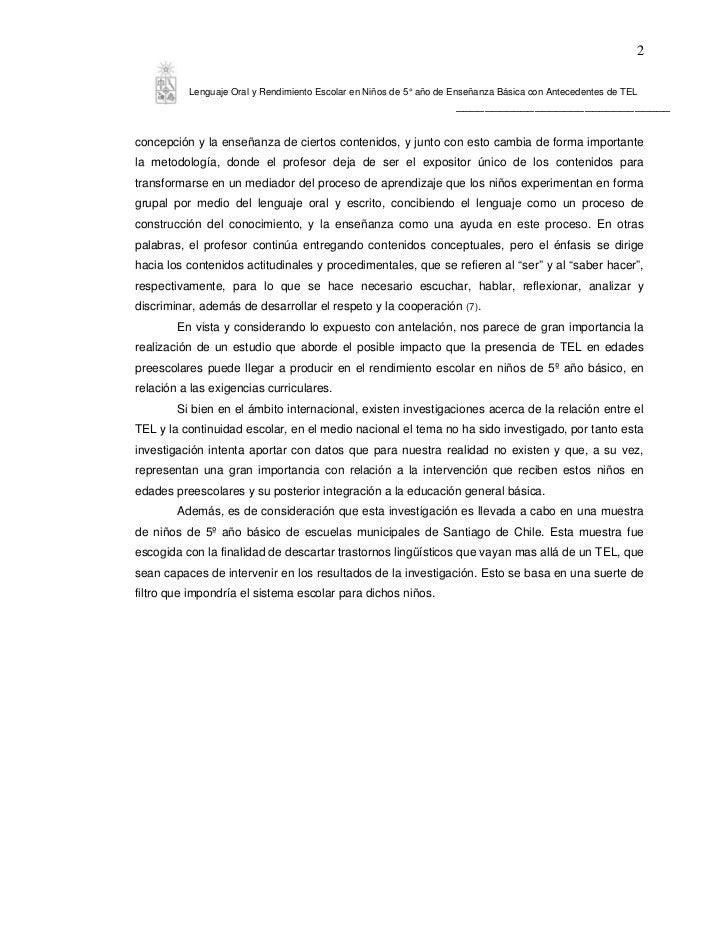 2          Lenguaje Oral y Rendimiento Escolar en Niños de 5° año de Enseñanza Básica con Antecedentes de TEL             ...