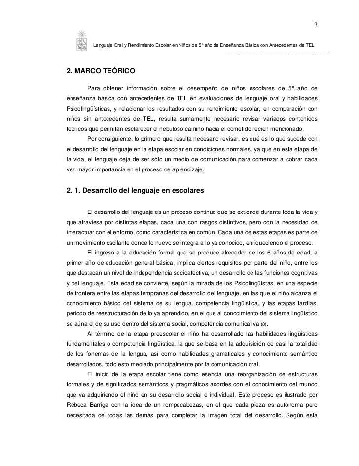 3          Lenguaje Oral y Rendimiento Escolar en Niños de 5° año de Enseñanza Básica con Antecedentes de TEL             ...