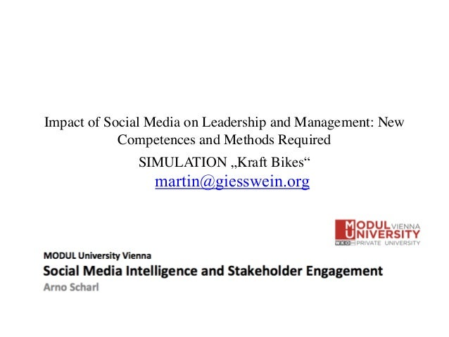 "Impact of Social Media on Leadership and Management: New Competences and Methods Required	  SIMULATION ""Kraft Bikes"" marti..."
