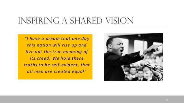 """Inspiring a Shared Vision """"I have a dream that one day this nation will rise up and live out the true meaning of its creed..."""