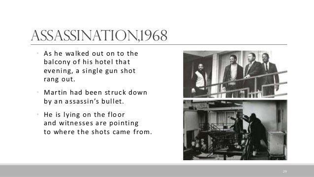 Assassination,1968 • As he walked out on to the balcony of his hotel that evening, a single gun shot rang out. • Martin ha...