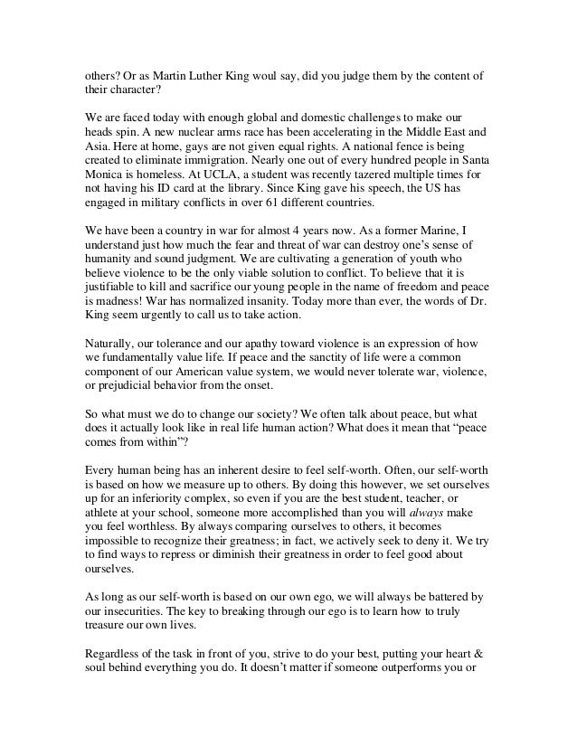 martin luther king essay example Suggested essay topics and study questions for 's martin luther king, jr perfect for students who have to write martin luther king, jr essays.