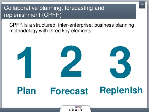 "collaborative planning forecasting and replenishment commerce essay Achieve a supply chain goal of a ""one number"" collaborative planning, forecasting, and replenishment (cpfr) process with suppliers, customers, and business ."