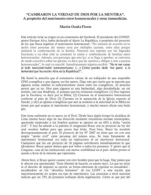 """""""CAMBIARON LA VERDAD DE DIOS POR LA MENTIRA"""". A propósito del matrimonio entre homosexuales y otras inmundicias. Martín Oc..."""