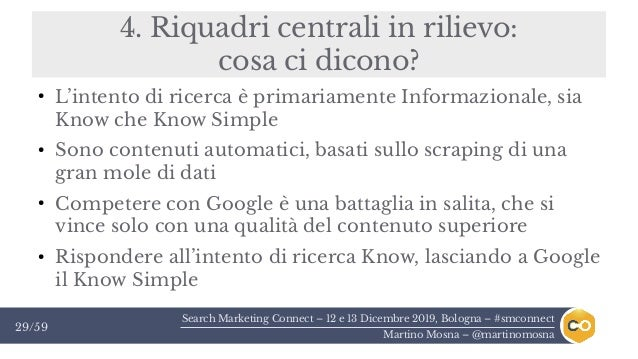 Search Marketing Connect – 12 e 13 Dicembre 2019, Bologna – #smconnect Martino Mosna – @martinomosna 29/59 4. Riquadri cen...