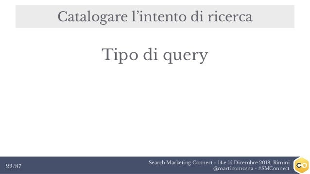 Search Marketing Connect - 14 e 15 Dicembre 2018, Rimini @martinomosna - #SMConnect22/87 Catalogare l'intento di ricerca T...