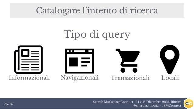 Search Marketing Connect - 14 e 15 Dicembre 2018, Rimini @martinomosna - #SMConnect26/87 Catalogare l'intento di ricerca I...