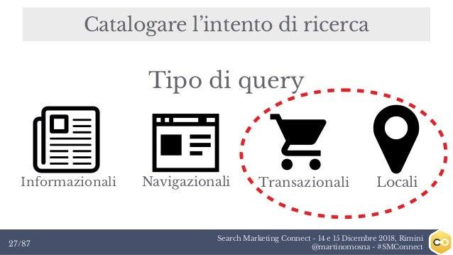 Search Marketing Connect - 14 e 15 Dicembre 2018, Rimini @martinomosna - #SMConnect27/87 Catalogare l'intento di ricerca I...