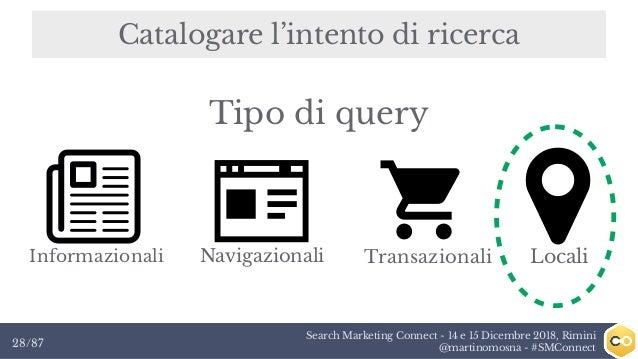 Search Marketing Connect - 14 e 15 Dicembre 2018, Rimini @martinomosna - #SMConnect28/87 Catalogare l'intento di ricerca I...