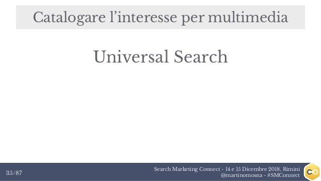 Search Marketing Connect - 14 e 15 Dicembre 2018, Rimini @martinomosna - #SMConnect35/87 Catalogare l'interesse per multim...
