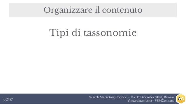 Search Marketing Connect - 14 e 15 Dicembre 2018, Rimini @martinomosna - #SMConnect62/87 Organizzare il contenuto Tipi di ...