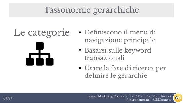 Search Marketing Connect - 14 e 15 Dicembre 2018, Rimini @martinomosna - #SMConnect67/87 Tassonomie gerarchiche ● Definisc...
