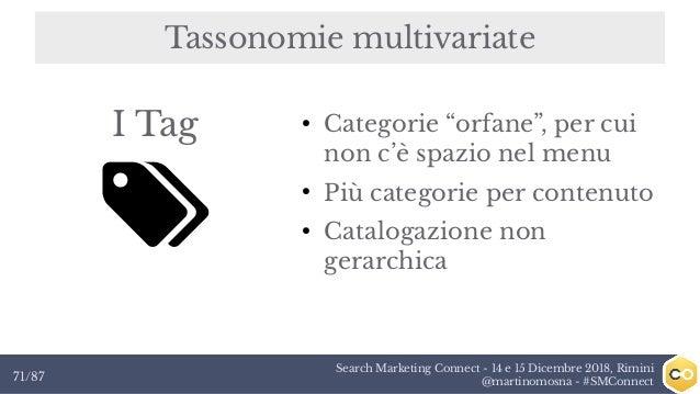 Search Marketing Connect - 14 e 15 Dicembre 2018, Rimini @martinomosna - #SMConnect71/87 Tassonomie multivariate I Tag ● C...