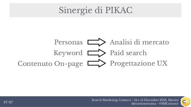 Search Marketing Connect - 14 e 15 Dicembre 2018, Rimini @martinomosna - #SMConnect87/87 Sinergie di PIKAC Personas Keywor...