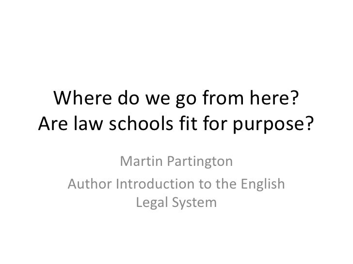 Where do we go from here?Are law schools fit for purpose?           Martin Partington   Author Introduction to the English...