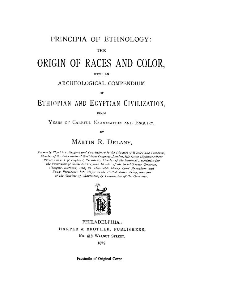 The Origin of Races and Color, by Martin R  Delany