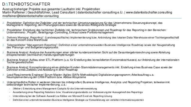 Auszug bisheriger Projekte aus gesamter Laufbahn inkl. Projektrollen Martin Raffeiner | Geschäftsführer, Lead Consultant |...