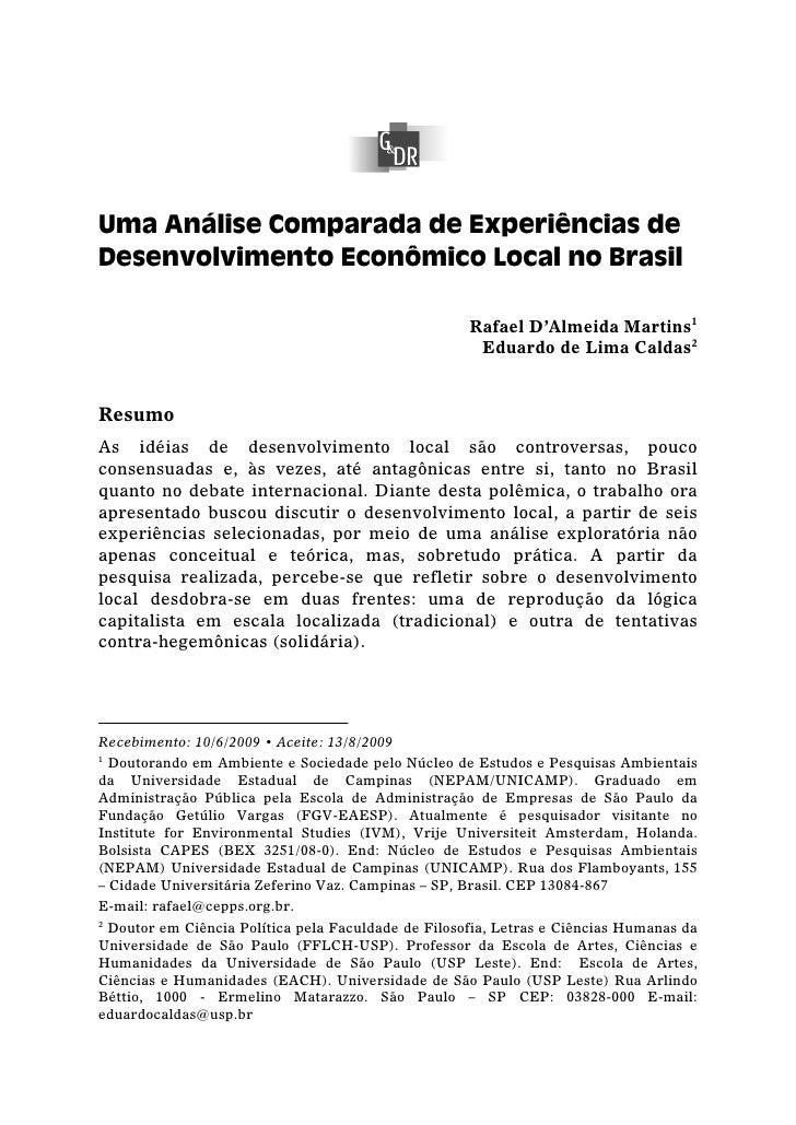 Uma Análise Comparada de Experiências de Desenvolvimento Econômico Local no Brasil                                        ...