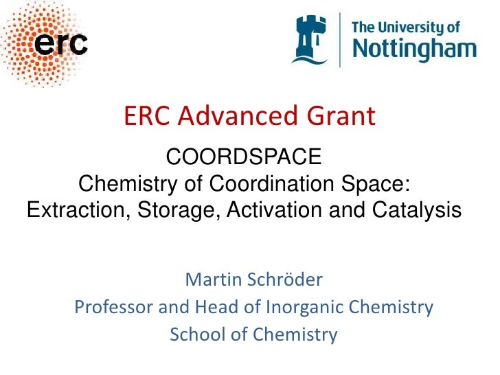 ERC Advanced Grant<br />COORDSPACE<br />Chemistry of Coordination Space: <br />Extraction, Storage, Activation and Catalys...