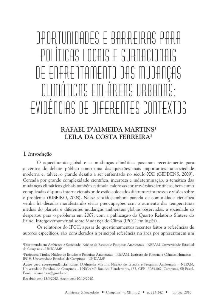 Oportunidades e Barreiras para       Políticas Locais e Subnacionais      de Enfrentamento das Mudanças       Climáticas e...