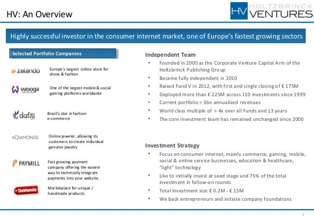 HV: An Overview Highly successful investor in the consumer internet market, one of Europe's fastest growing sectors Select...