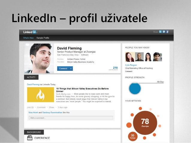 LinkedIn – profil uživatele