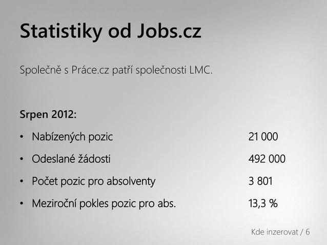 Statistiky od Jobs.czSpolečně s Práce.cz patří společnosti LMC.Srpen 2012:• Nabízených pozic                           21 ...