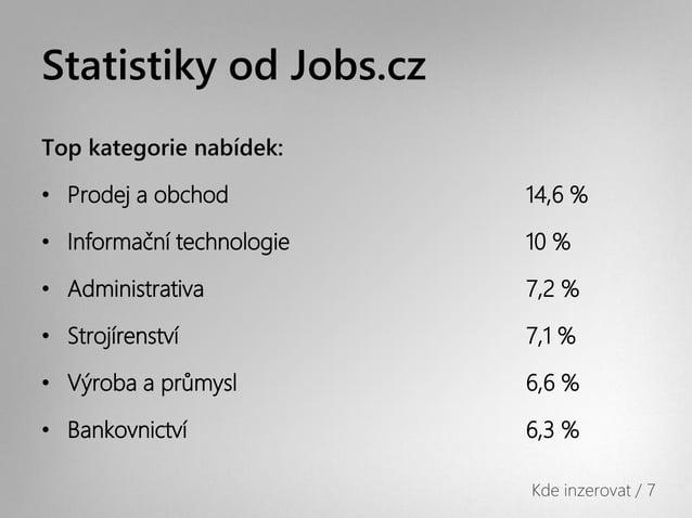 Statistiky od Jobs.czTop kategorie nabídek:• Prodej a obchod          14,6 %• Informační technologie   10 %• Administrativ...