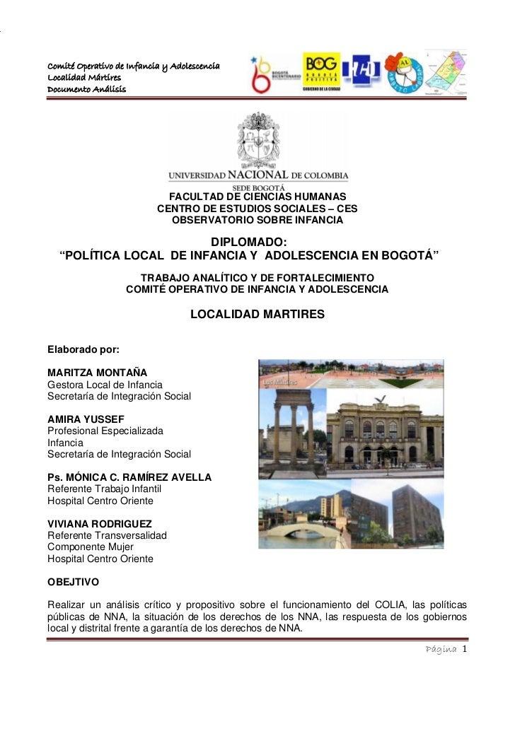 Comité Operativo de Infancia y Adolescencia                                         LOCALIDADLocalidad Mártires           ...